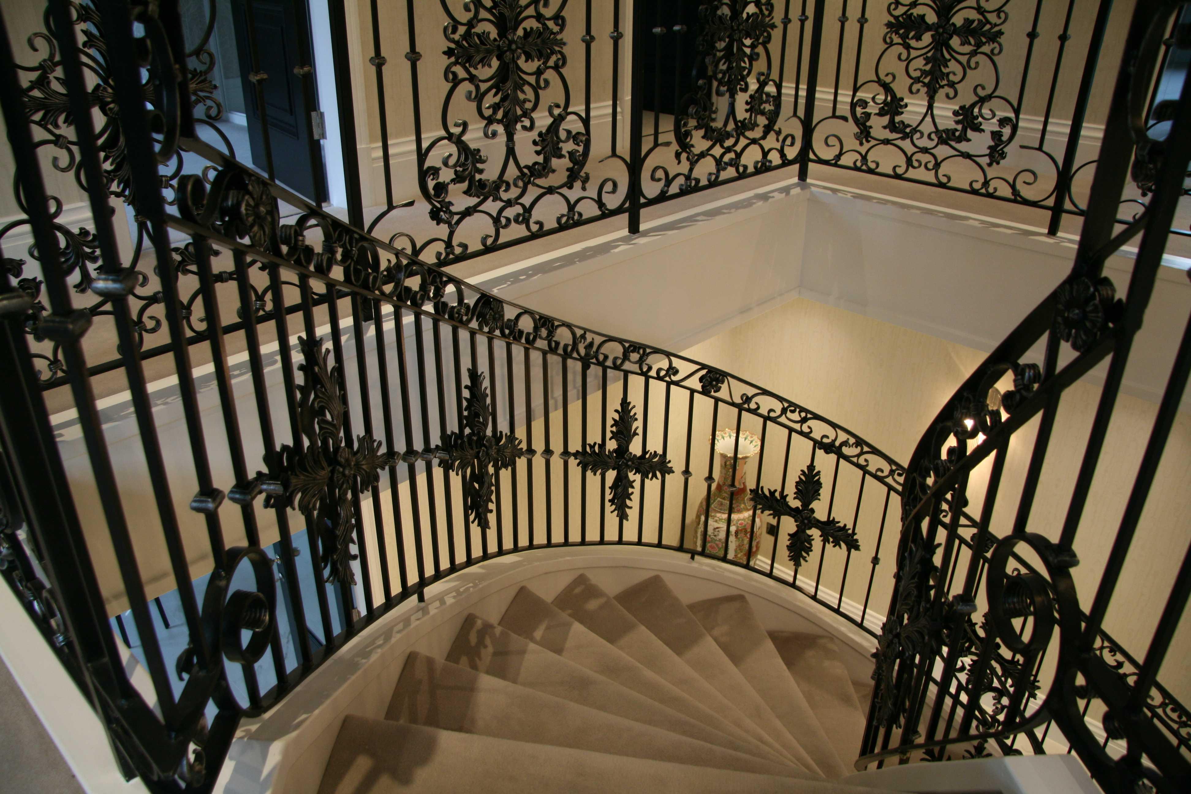 Modern metal stair railings interior bespoke staircases designs for sale--IOK-167