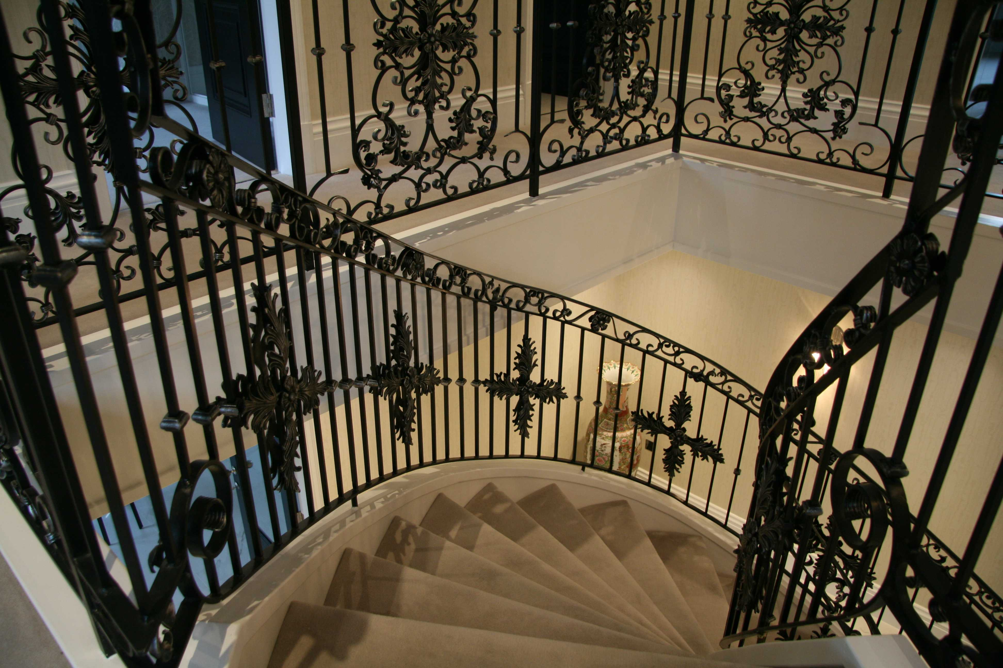 Modern metal stair railings interior bespoke staircases designs for sale–IOK-167