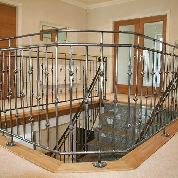 Ornamental interior decor wrought iron balustrades and handrails gallery landing steps for sale--IOK-165