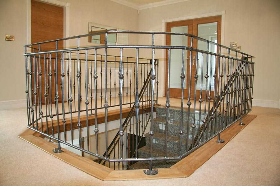 Ornamental interior decor wrought iron balustrades and handrails gallery landing steps for sale–IOK-165