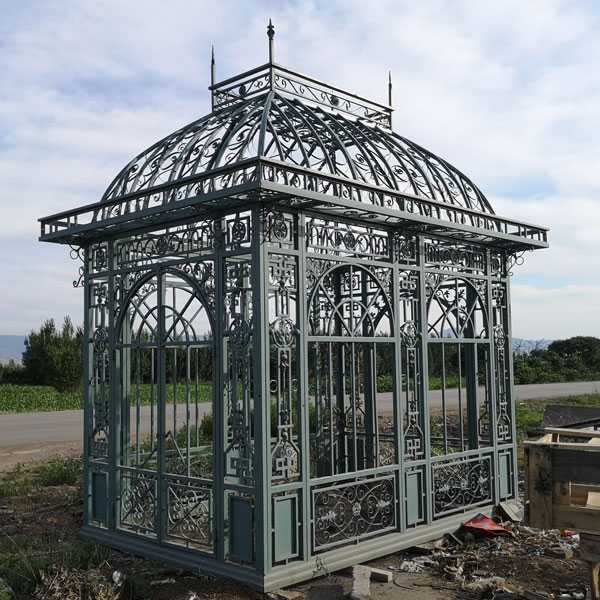 Outdoor garden ornament metal wrought iron pavilion designs $5500 in stock–IOK-255