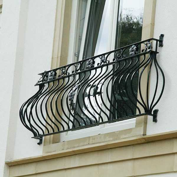 Outdoor modern wrought iron juliet balconies designs metal window railing for balcony for sale--IOK-153