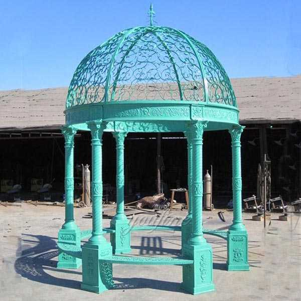 Popular blue white iron garden gazebo for wedding ceremony or garden decor designs for sale–IOK-114