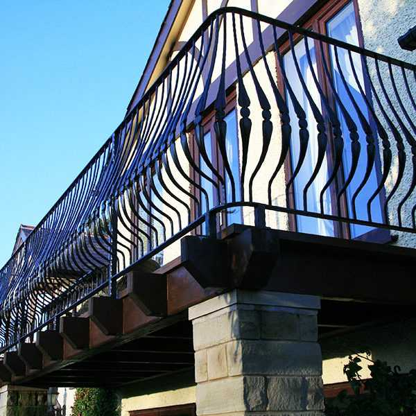 Popular outdoor curved edge wrought iron balcony fence designs for sale from ironwork factory China--IOK-149
