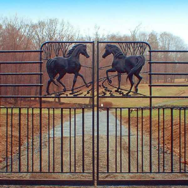 Vintage cattle sliding wrought iron driveway gates with horses designs for sale--IOK-180