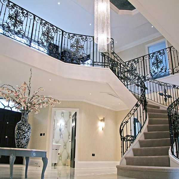 Wholesale decorative wrought iron bespoke staircases designs for indoor stair for sale--IOK-160