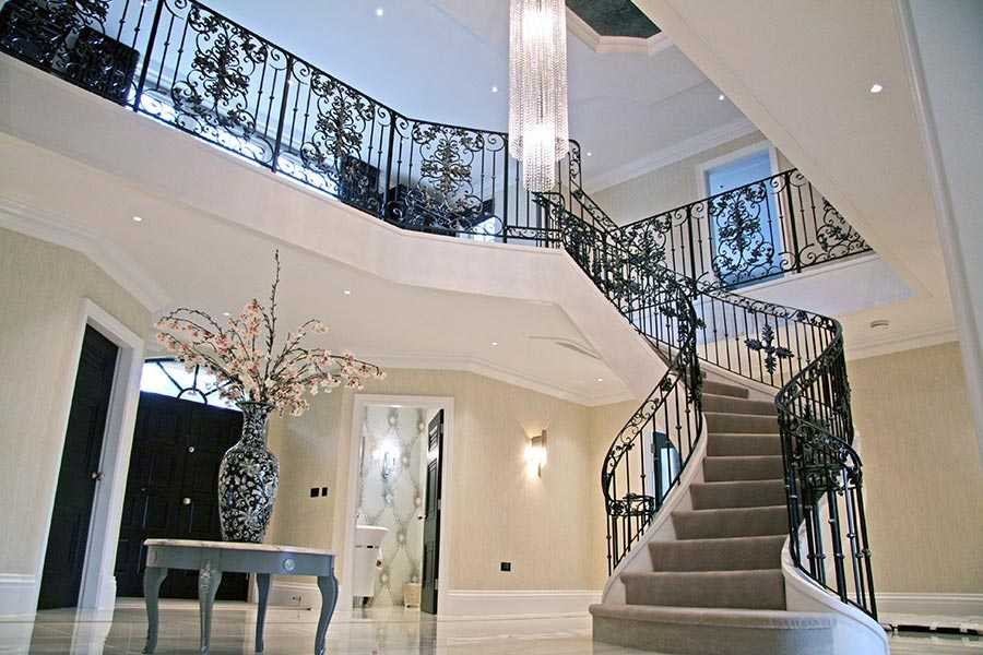 Wholesale decorative wrought iron bespoke staircases designs for indoor stair for sale–IOK-160