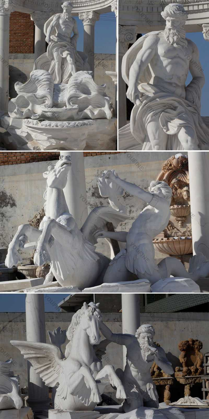 World most famous large trevi fountain replica in pure white marble for our american friends--MOKK-87