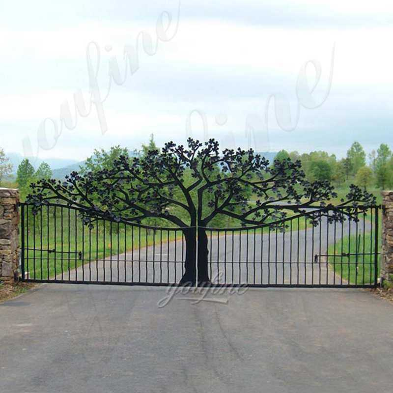 decorative garden beautiful tree double sliding wrought iron tree gates designs for sale