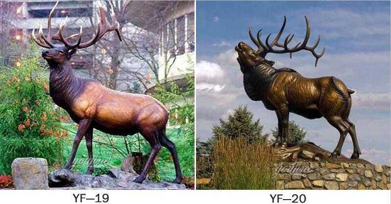 life size antique bronze elk statue for sale