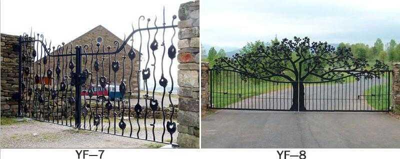 wrought iron swing driveway gates