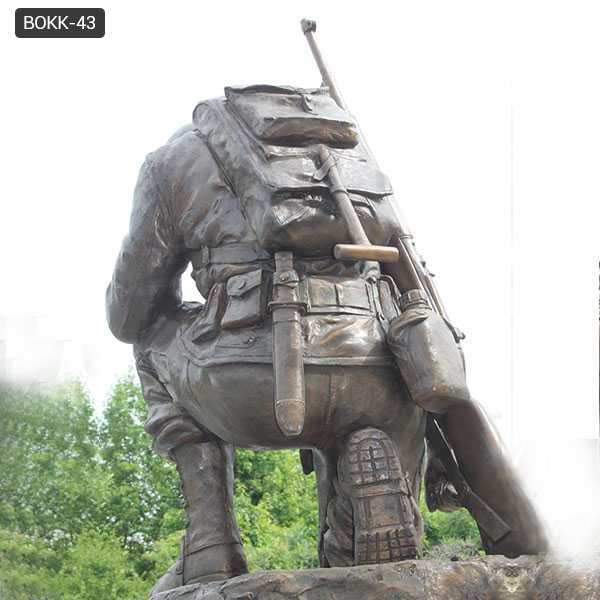 bronze war garden statue life size kneeling soldier heavy cast sculpture