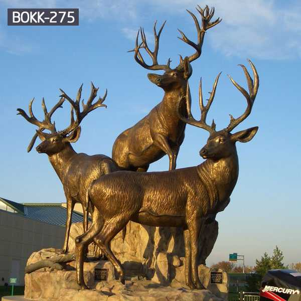 Antique bronze animal sculpture bronze stag statue garden design for sale–BOKK-275