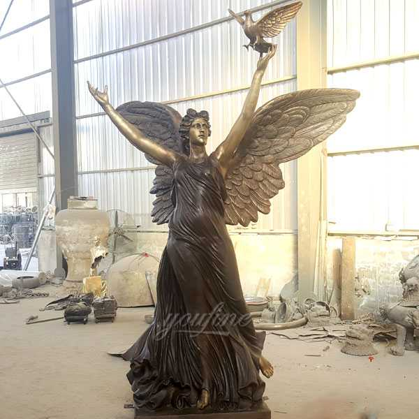 Beautiful large casting bronze outdoor garden angel statues with peace dove design for sale–BOKK-475