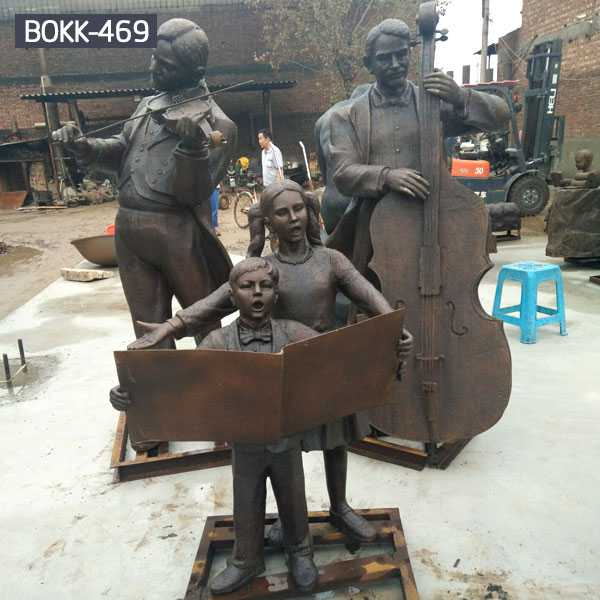 Bespoke full size bronze casting outdoor street or garden art decor Virtuosi sculptures for sale–BOKK-469