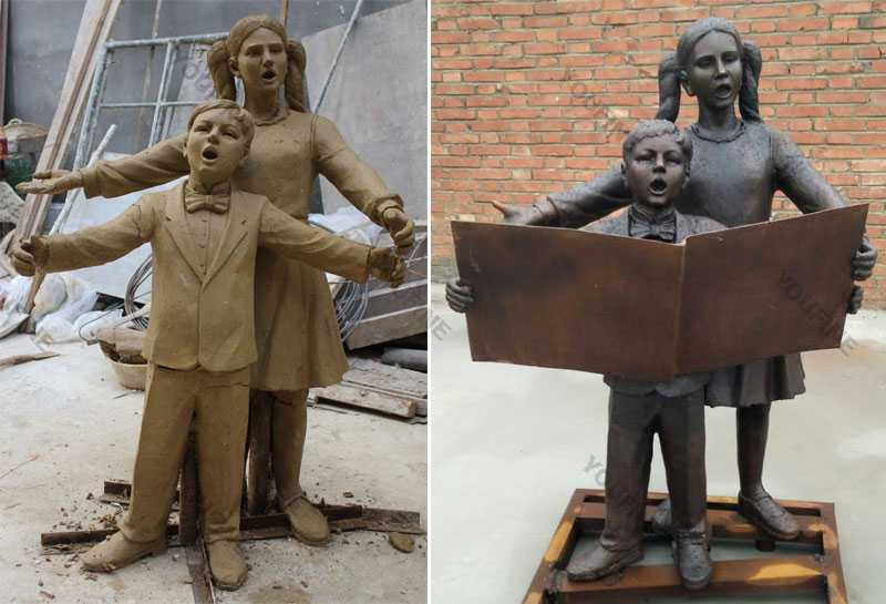 Bespoke life size boy and girl is sing clay model and bronze garden statues fro sale