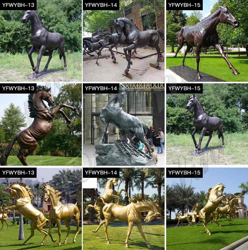 Bronze Standing Horse Sculptures for Home or Garden