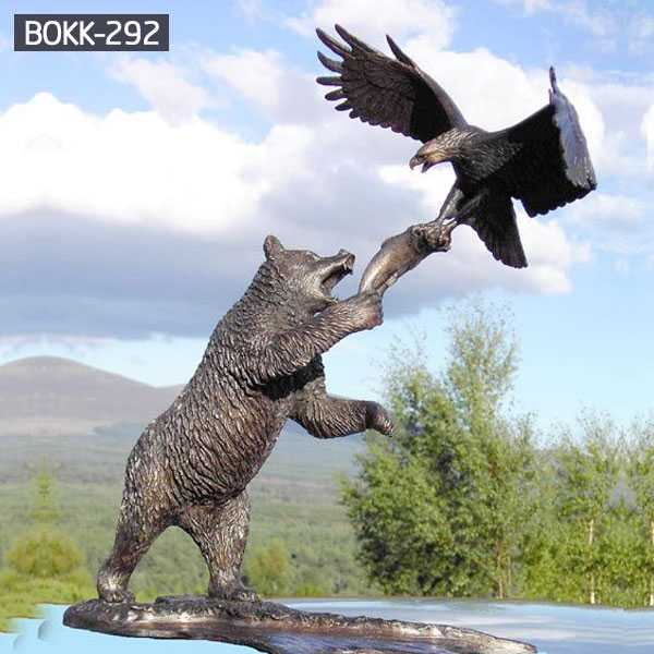 Buy life size animal statue bronze bear statue with eagle designs for garden decor for sale--BOKK-292