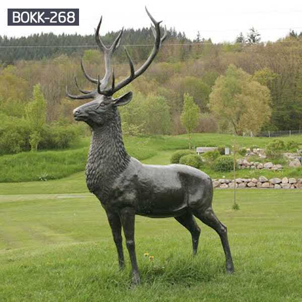 Buy life size brass deer statue antique bronze stag statue garden for lawn ornament for sale–BOKK-268