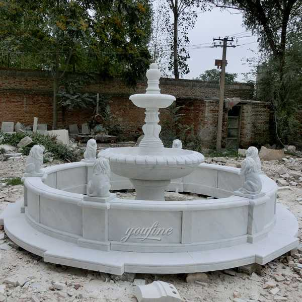 Cheap life size two tiered white marble water fountain small design with six lion statues carved for backyard decor for sale–MOKK-105