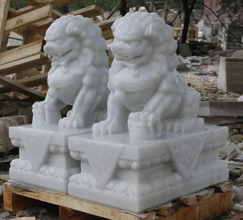 Chinese marble foo dog for front door decor for sale