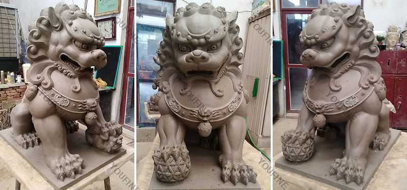 Clay Mold of Chinese Foo or Fu dog statue