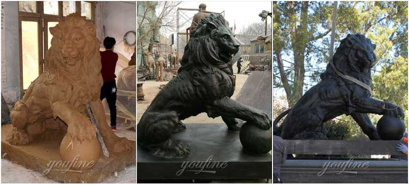 Clay-model-and-china foundry-casting-bronze-guardian lion-statues