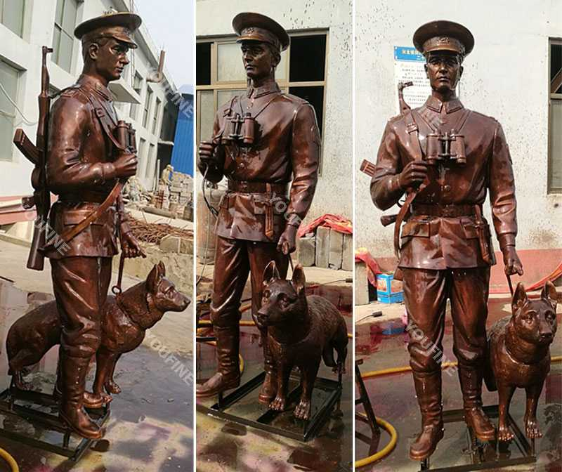 Custom made bronze military life size solider and dog statues designs outdoor