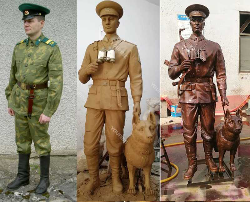Custom made bronze military life size solider and dog statues from a photo