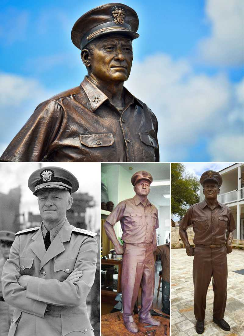 Customized casting bronze famous statue American Navy Admiral Nimitz and his bronze sculpture for commemorate for sales