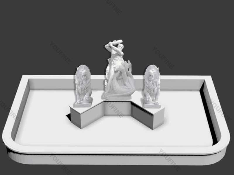 Drawing-of-the-outdoor-marble-fountain with lion statue design