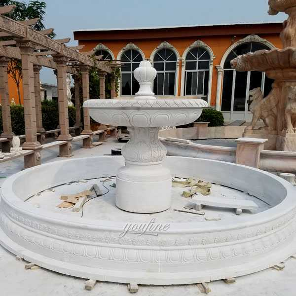 Easy design life size tiered fountains one tiered white marble fountain cost for sale on stock–MOKK-104