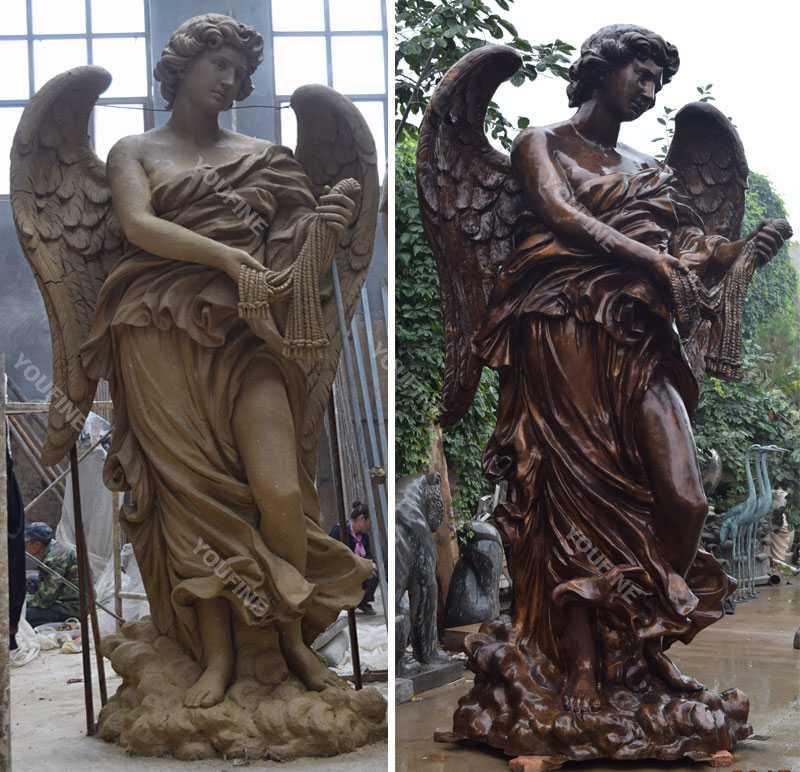 Famous bronze baroque art bernini angel designs replicas at angel castle for sale for your garden decoration--BOKK-479