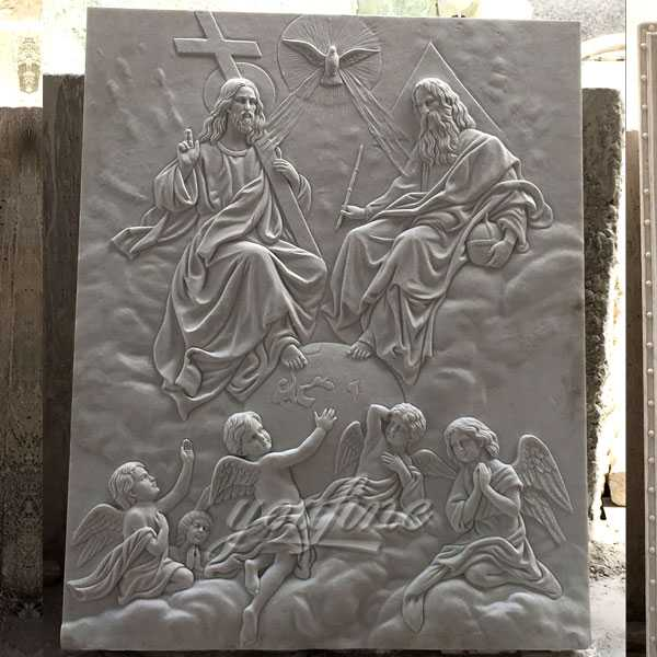 Famous catholic church interior wall decor Holy Trinity marble relief sculpture made from a image--CHS-612
