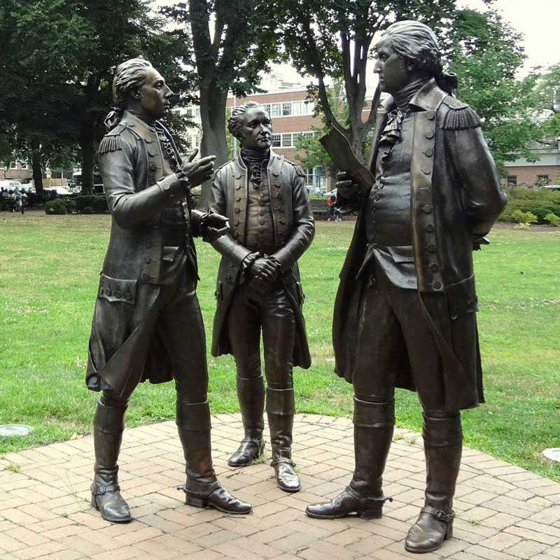 Four Famous Bronze Soldier Sculpture to Memory the American Revolutionary War