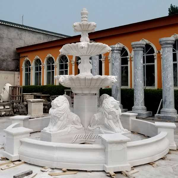 High quality large three tiered patio outdoor white marble fountain with four lion statue design for sale from China factory supply–MOKK-102