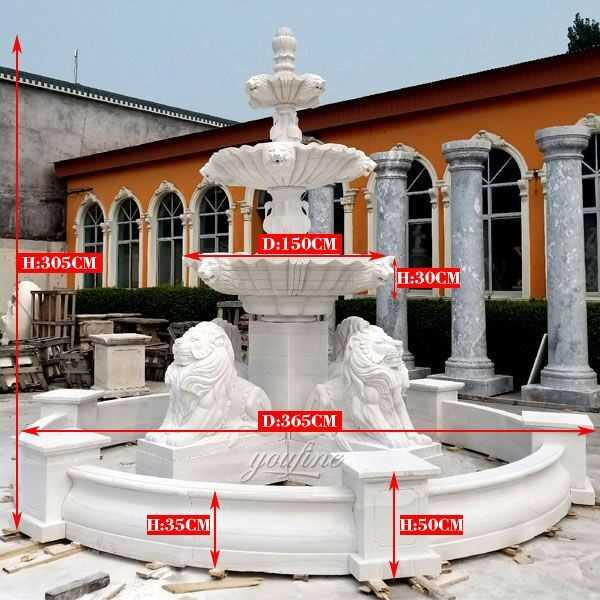 High quality large three tiered patio outdoor white marble fountain with four lion statue design for sale from China