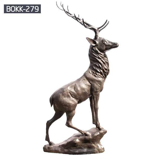 Hot selling  antique bronze stag statue garden for lawn ornament brass deer statue for sale–BOKK-279