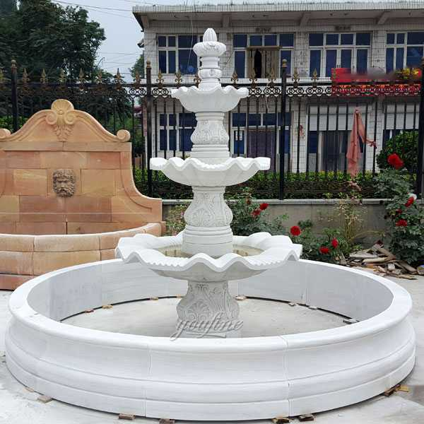 Hot selling three tiered marble fountain easy tiered patio water fountain for front door decor for sale–MOKK-97