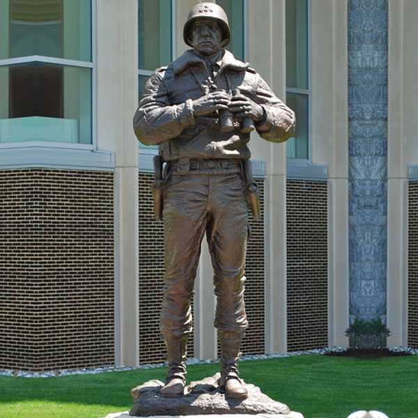 Large famous antique bronze statue general George S. Patton the outstanding figure in World War II