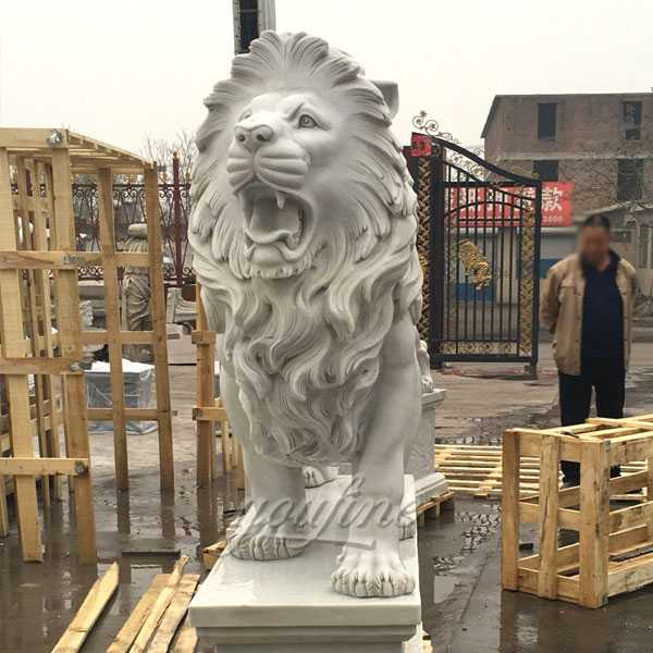 Large stone white marble guardian western large roaring pair of lion statue for front porch for sale--MOKK-92