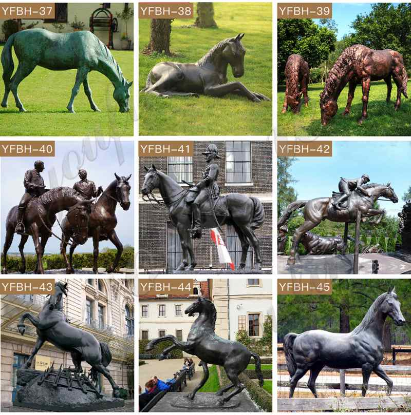 Life size black standing horse statue