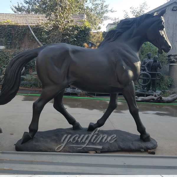 Life size bronze standing horse art hot cast black vintage bronze garden horse statue designs for sale--BOKK-246