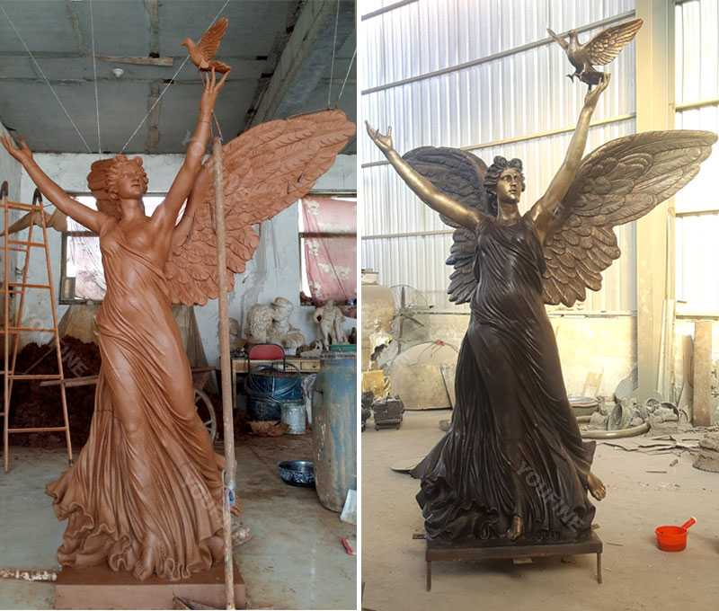 Life size clay model and bronze casting outdoor garden angel statues with peace dove design for sale