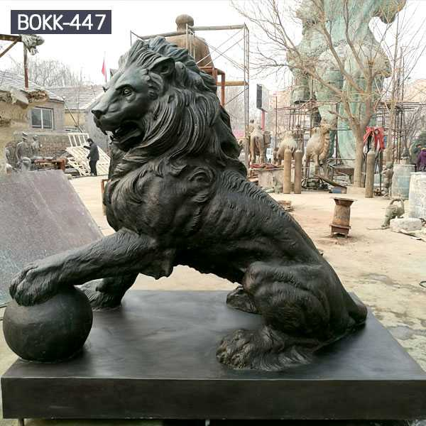 Life size guardian bronze lion statues for front porch for sale for our American customer from China foundry--BOKK-447