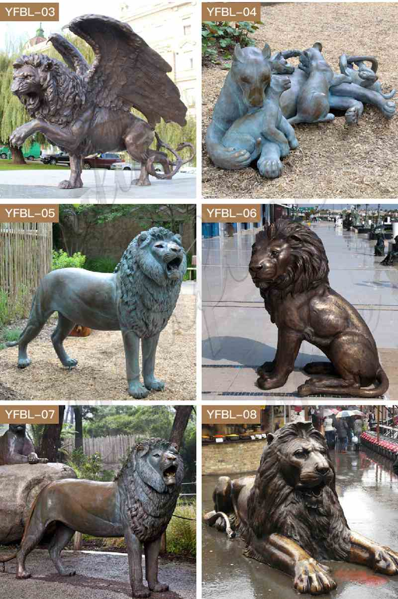 Life size outdoor casting bronze lion statues for driveway