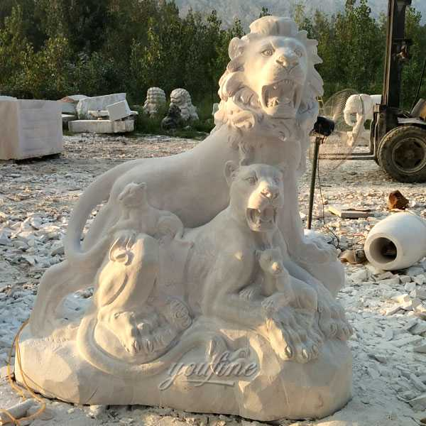 Marble animal statue big guardian lion statue lion family design for Entrance for sale–MOKK-110