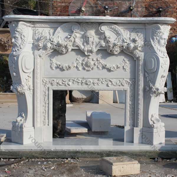 Modern Large White Marble Hand Carved Mantels for Stone Fireplaces for Home Decor MOKK-106