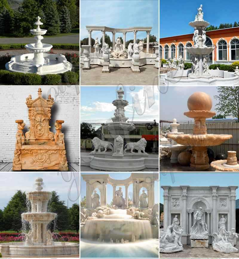 Modern white marble Hercules fountain with twolion sculptures