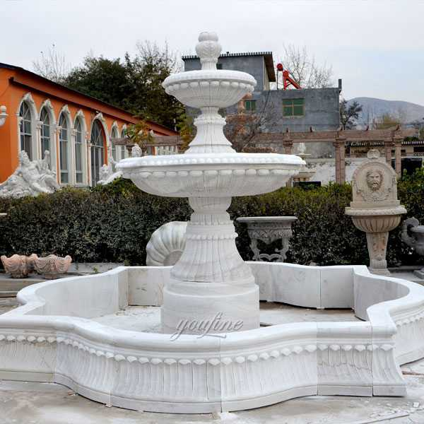 Popular outdoor garden fountain pure white marble small 2 tiered water fountain for backyard decor for sale–MOKK-95